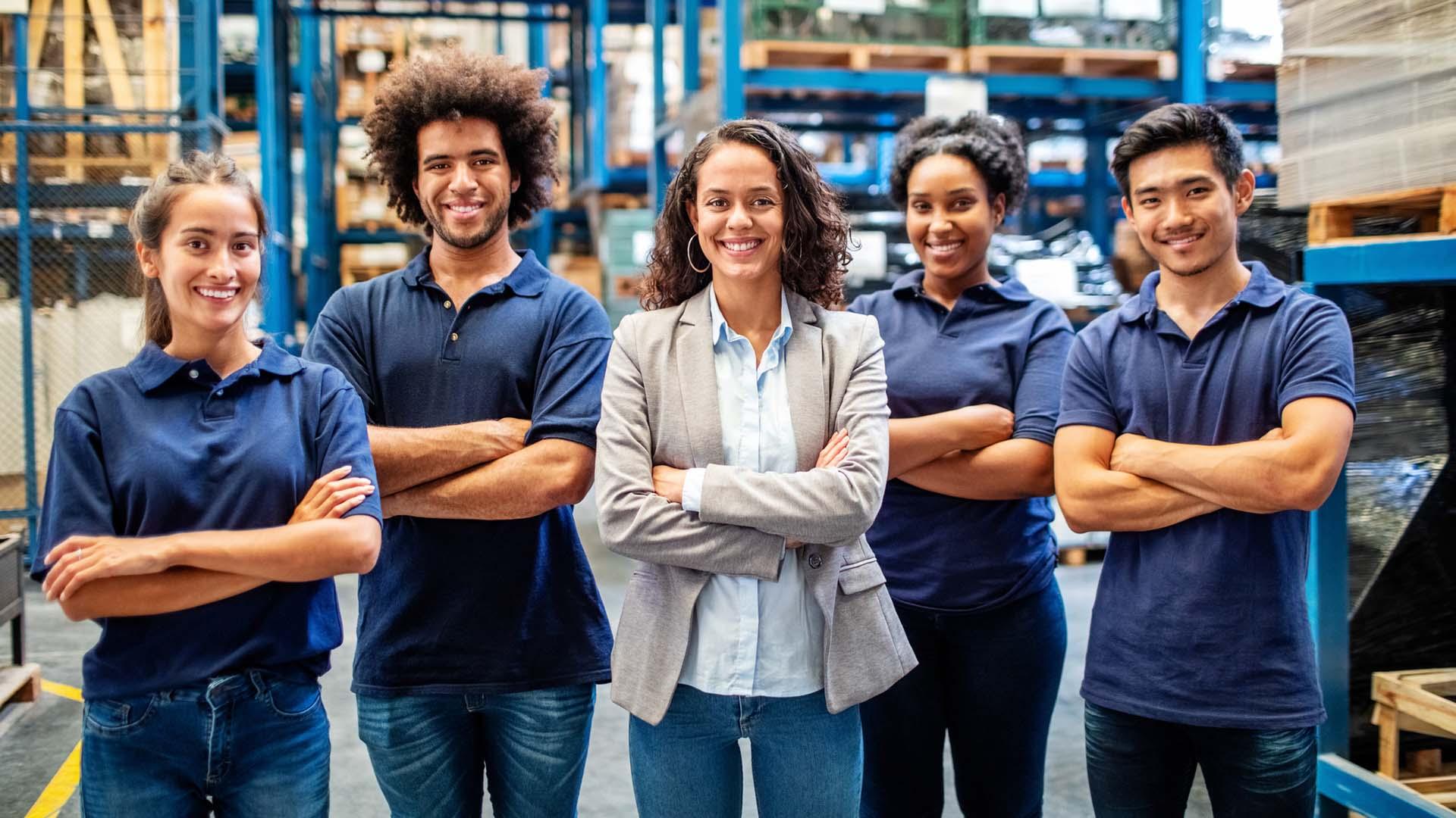 Diverse workforce standing together